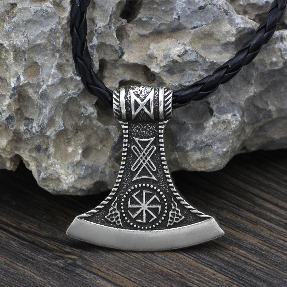 axe compass necklace