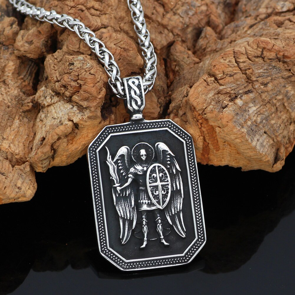 ST.MICHAEL ARCHANGEL CROSS SHIELD  NECKLACE Stainless Steel