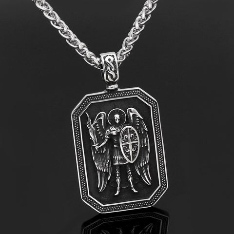 Image of ST.MICHAEL ARCHANGEL CROSS SHIELD  NECKLACE Stainless Steel