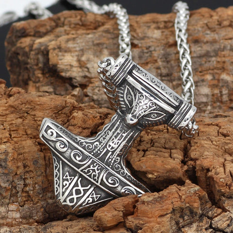 Image of Stainless steel Thor Hammer Mjolnir rune  Necklace