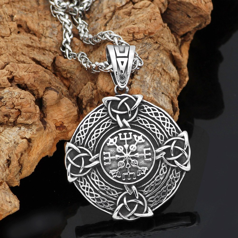 pagan knot amulet stainless steel shield necklace