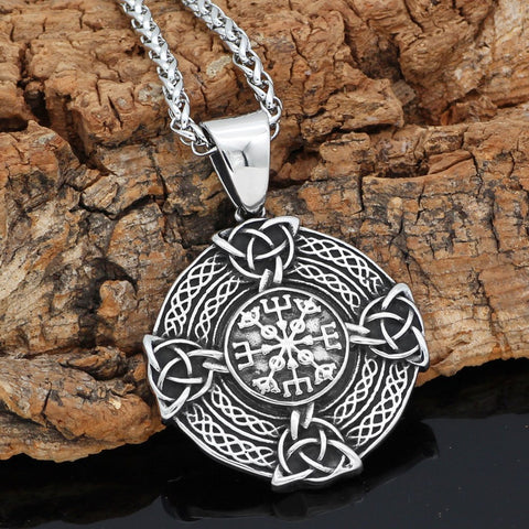 Image of pagan knot amulet stainless steel shield necklace