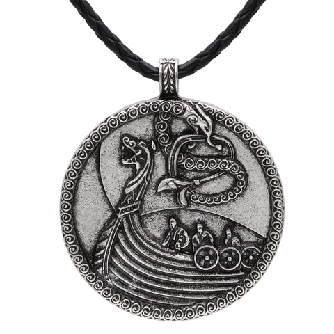 Image of ship dragon pendant necklace