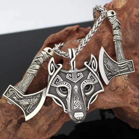Image of wolf head pendant necklace