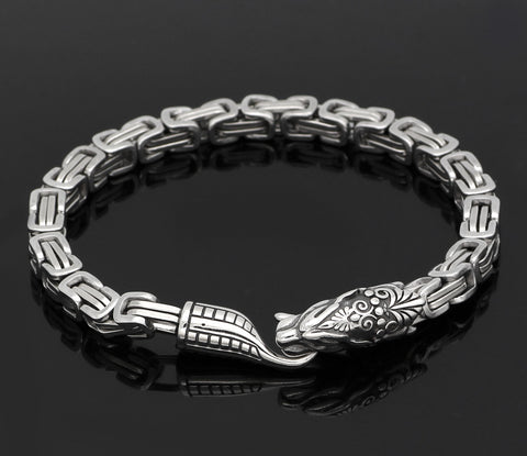 Image of silver viking dragon bracelet