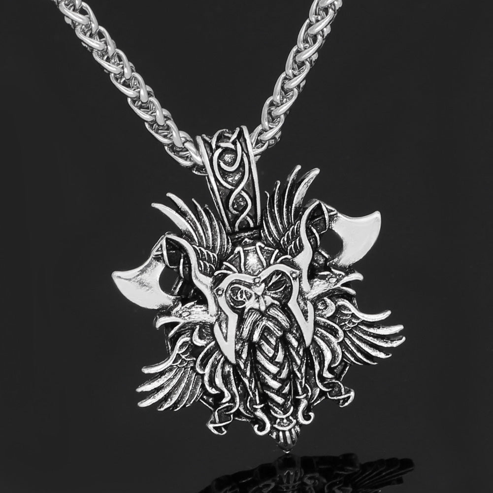 odin face with axe amulet Nordic necklace