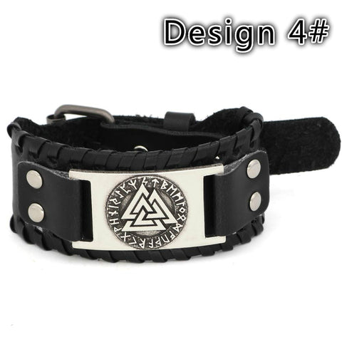 Vegvisir compass rune leather bracelet