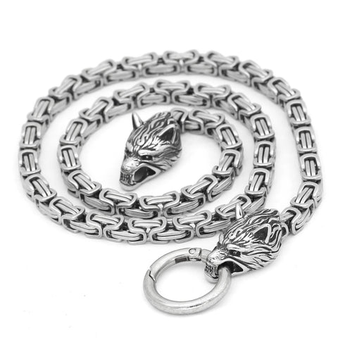Image of Wolf head norse viking amulet thor hammer necklace