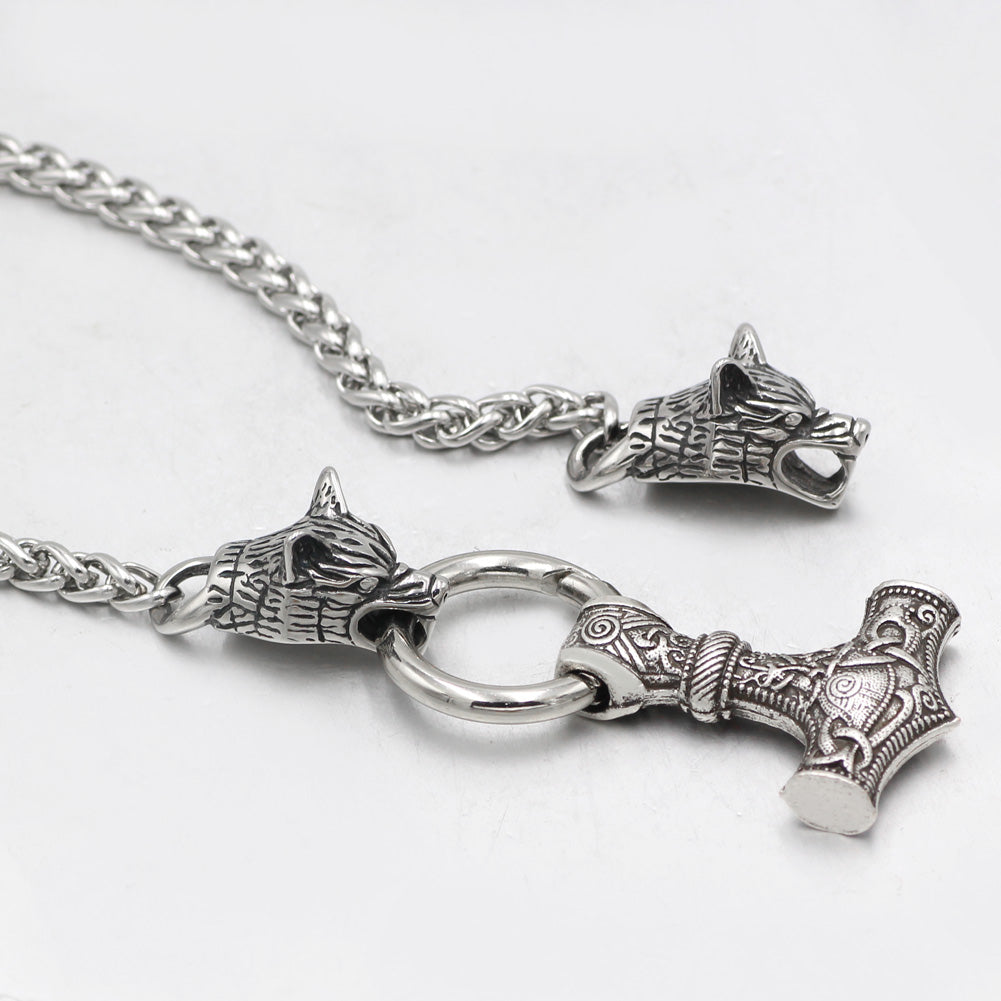 wolf head Mjolnir necklace