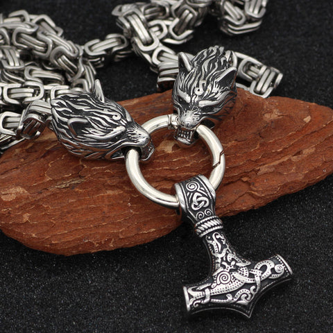 Image of Wolf king hammer  necklace