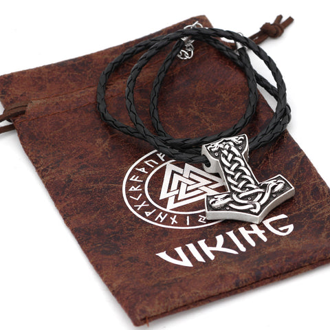 Image of wolf thor hammer talisman necklace