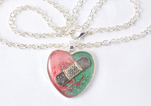 Pink & Mint Bandaid Necklace - Jenny Bagwill Art