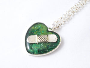 Green Organ Donation Bandaid Necklace - Jenny Bagwill Art