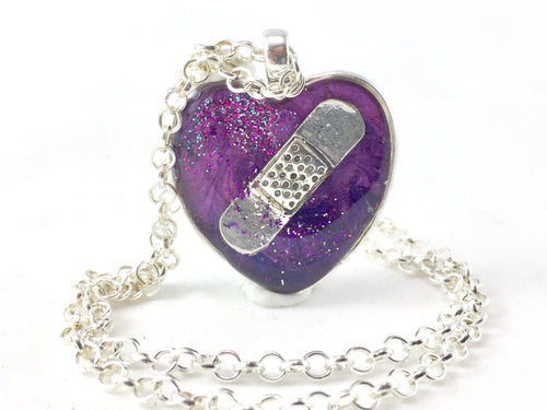 Purple Bandaid Necklace - Jenny Bagwill Art