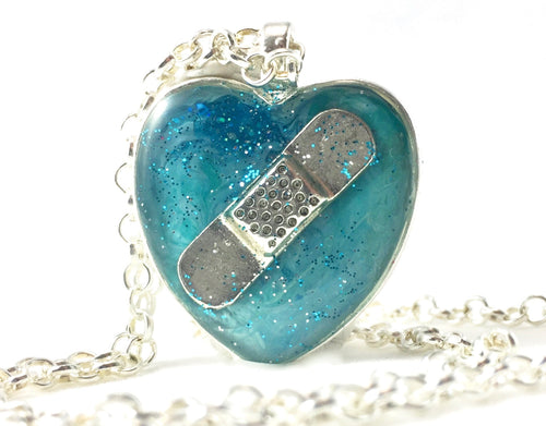 Aqua Bandaid Necklace - Jenny Bagwill Art
