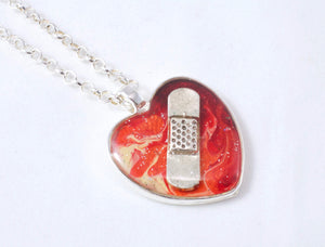 Fiery Bandaid Necklace - Jenny Bagwill Art