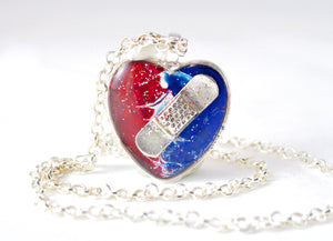 Red, White, & Blue Bandaid Necklace - Jenny Bagwill Art