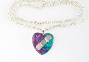 Purple & Teal Bandaid Necklace - Jenny Bagwill Art