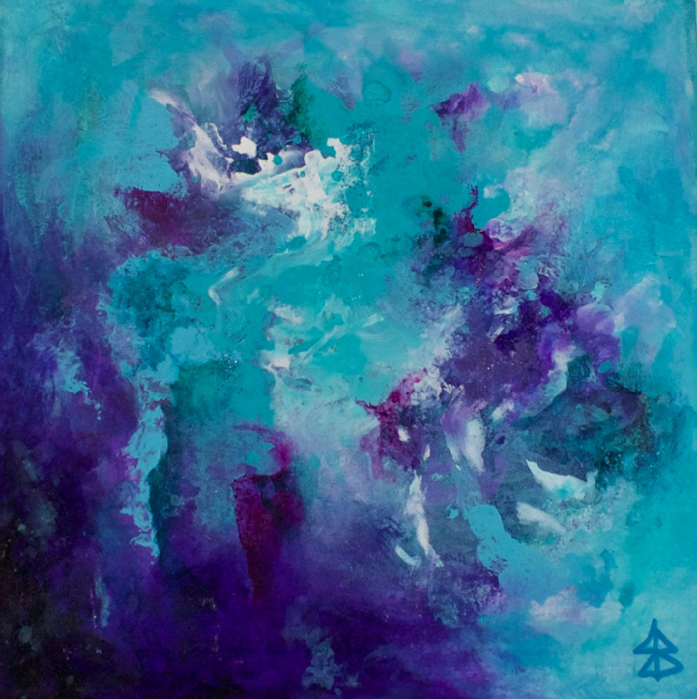 Small Turquoise Purple Abstract Painting