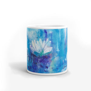 Blue Waterlily Mug - Jenny Bagwill Art