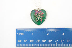 Green Heart with Cross Necklace - Jenny Bagwill Art