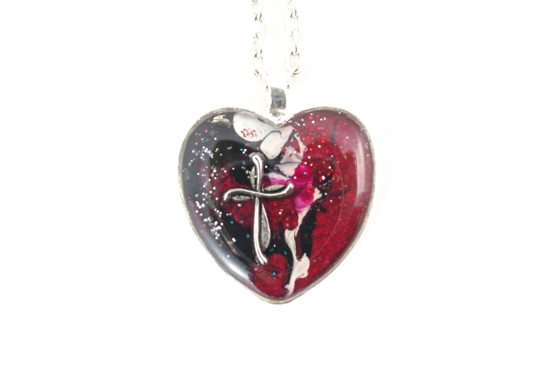 Red Black Heart with Cross Necklace - Jenny Bagwill Art