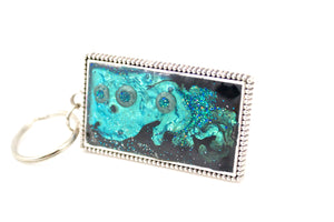 Teal Abstract Dots Key Ring - Jenny Bagwill Art