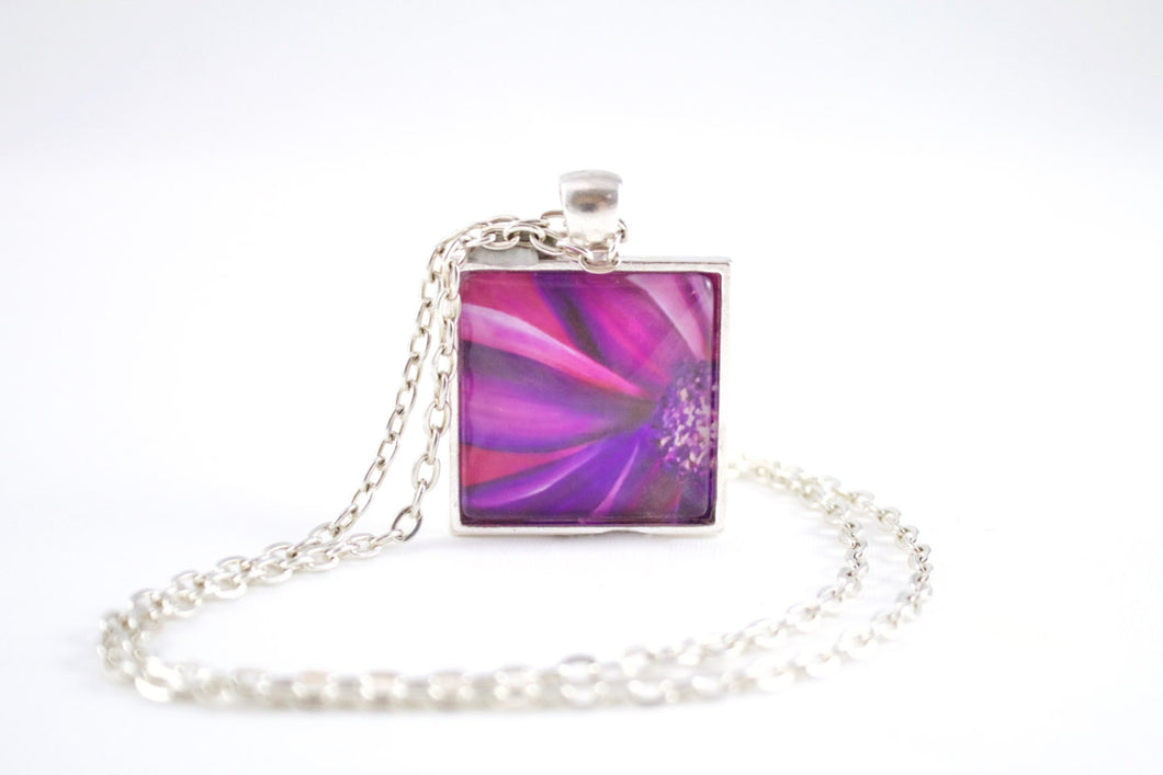Purple & Pink Flower Necklace - Jenny Bagwill Art