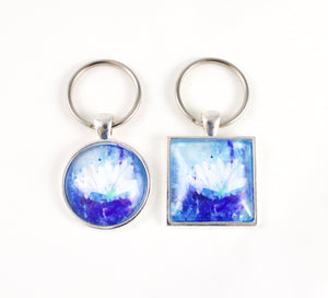 Blue Waterlily Key Ring - Jenny Bagwill Art