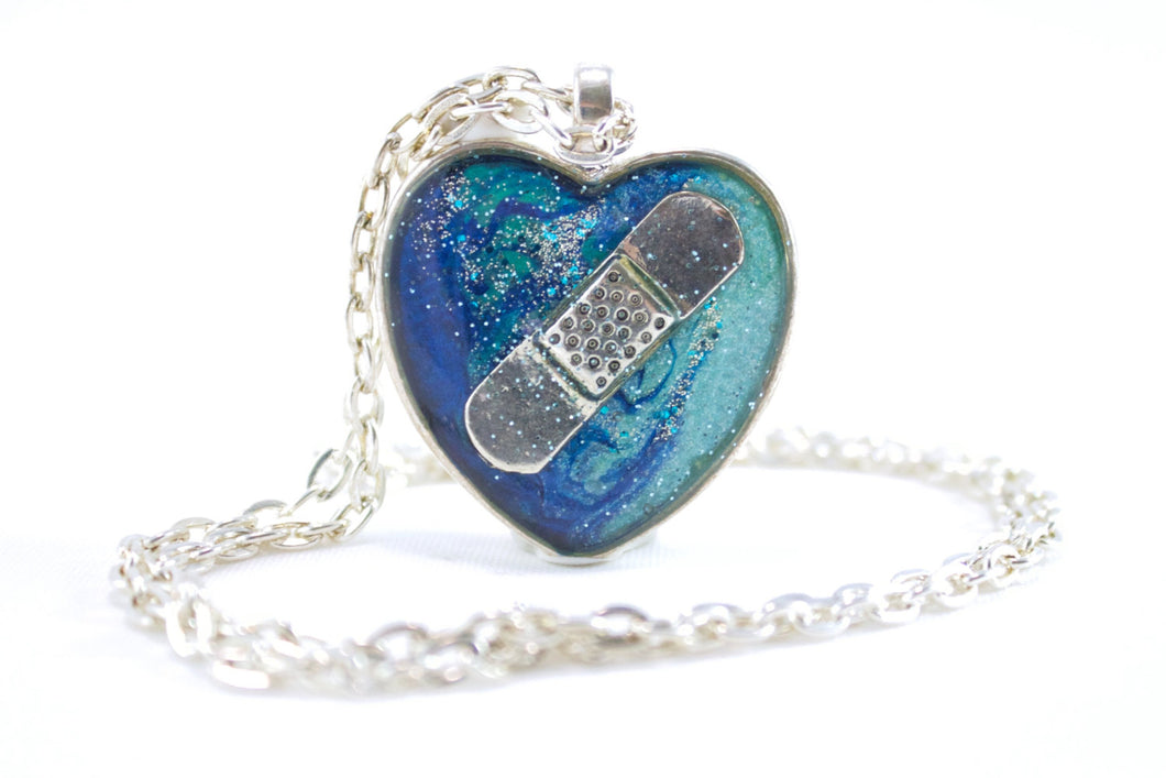 Blue Bandaid Necklace - Jenny Bagwill Art
