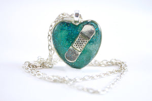 Teal Bandaid Necklace - Jenny Bagwill Art