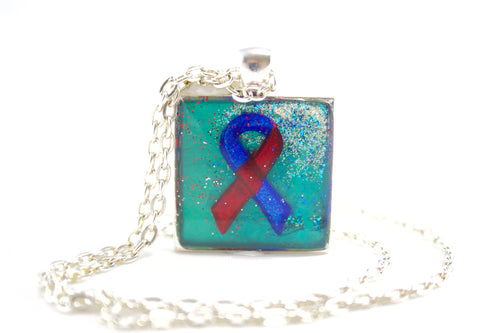 Teal CHD Red & Blue Ribbon Necklace - Jenny Bagwill Art