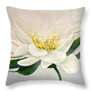 White Flower - Throw Pillow - Jenny Bagwill Art