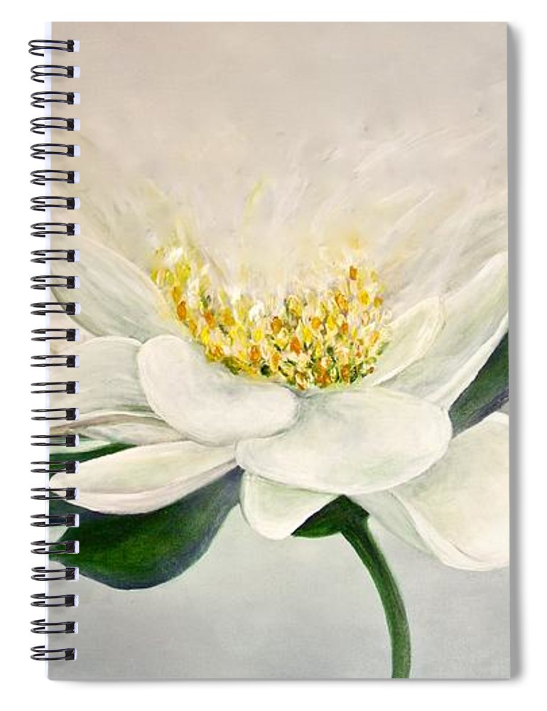 White Flower - Spiral Notebook - Jenny Bagwill Art