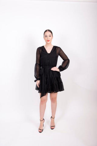get ruffle silk dress online in melbourne