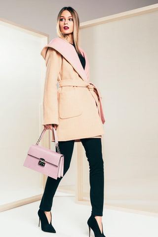 Double Faced Coat - Blush and Beige - Mona Collection