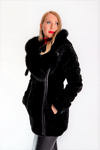Black Shearling, Fox Fur and Sheep Coat