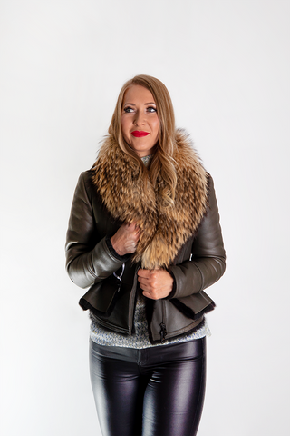 Short Shearling Jacket with Raccoon Collar