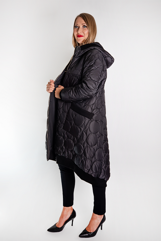 CONTRA Microfiber Knee Length silver/black coat