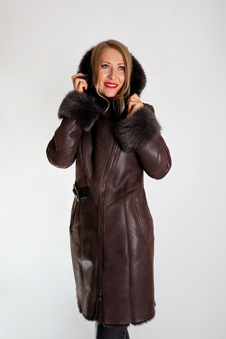 Leather Coat with Lamb Fur Collar