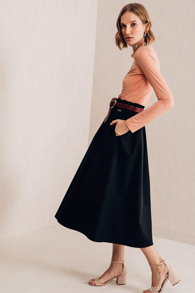 Black A-Line Skirt - Mona Collection