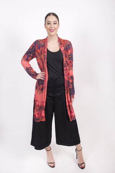 Long Cardigan with Print s/v