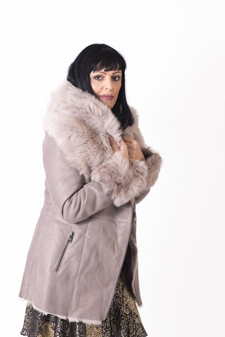 Three Quarter Shearling Coat with Lamb Fur Collar - Irena Grahovac