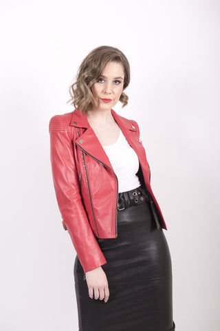 Imperial Red Studded Jacket - Mona Collection