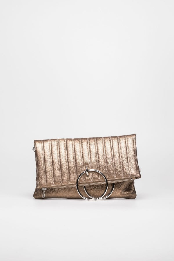 Ribbed Metallic Gold Pouch - Mona Collection