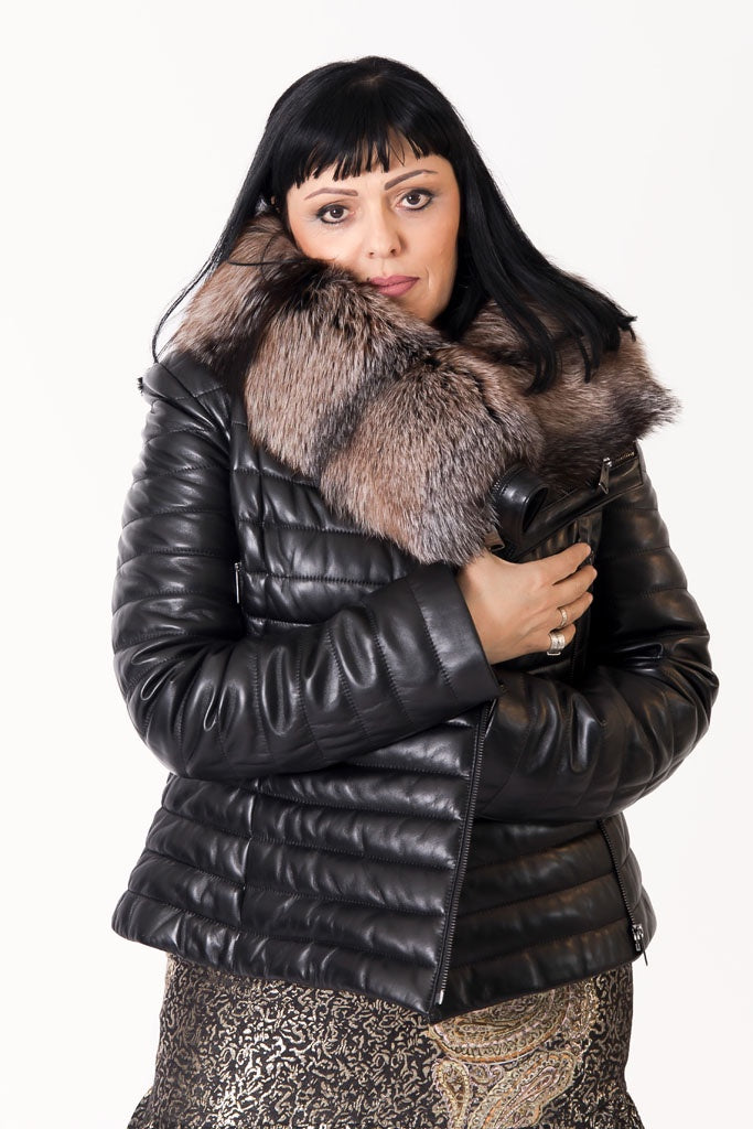 Short Leather Jacket with Fox Fur Collar