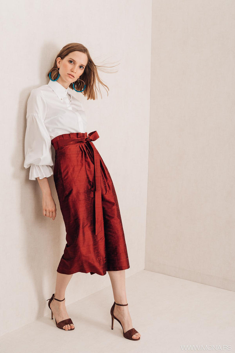 Bordeaux Knee Length Skirt - Mona Collection