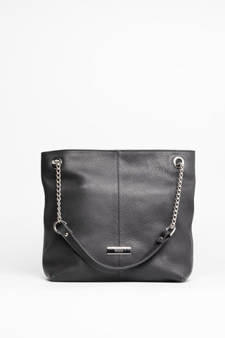 Black Leather Tote - Mona Collection