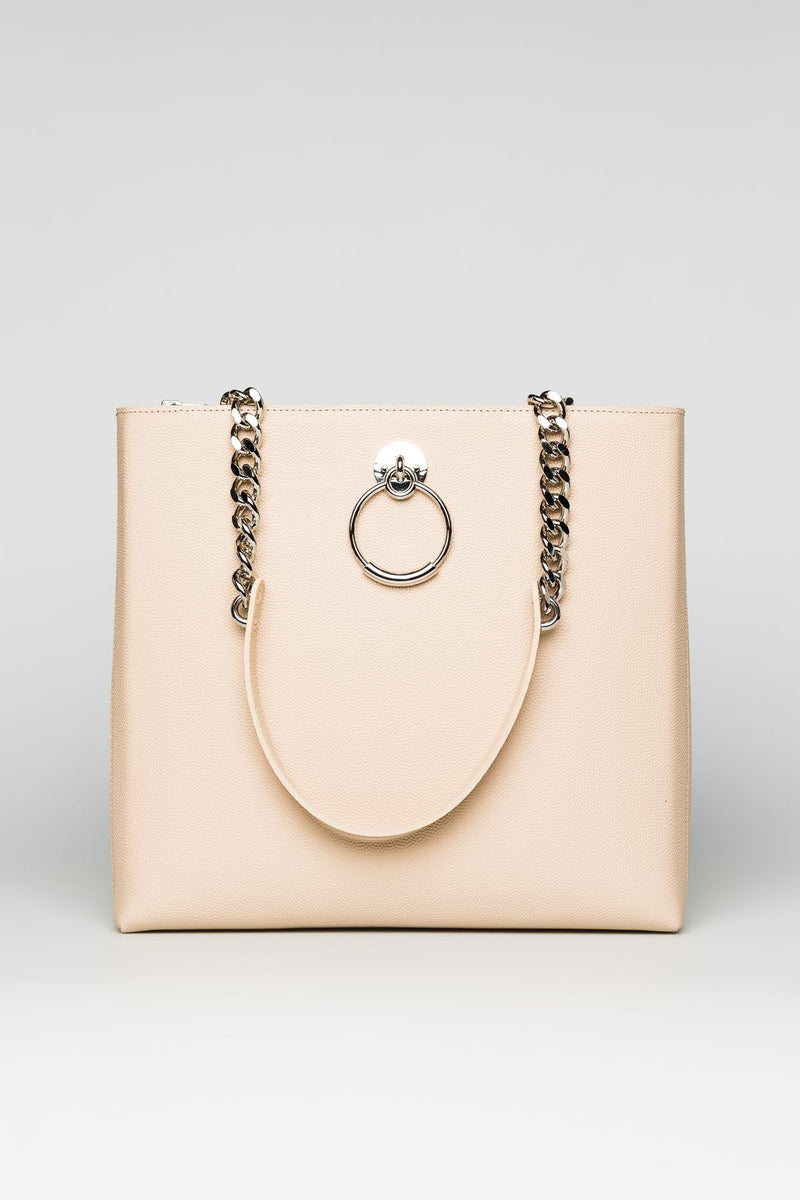 Cream Leather Bag with silver chain handles - Mona