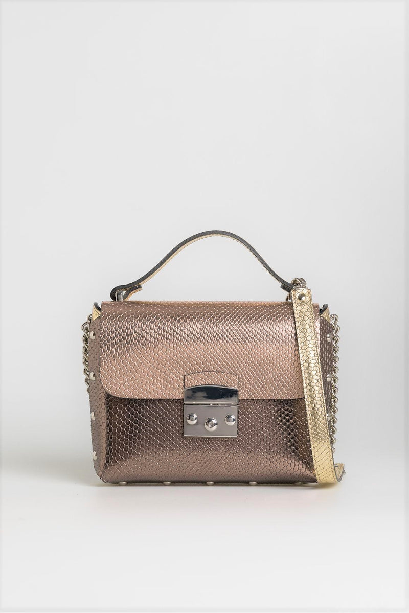 Two Tone Metallic Sling Bag - Mona Collection